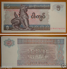 New listing Bundle of 100 Pieces Myanmar Burma 5 Kyat Banknote Unc