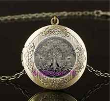 Vintage Celtic Wolf Tree Of Life Glass Brass Chain Locket Pendant Necklace