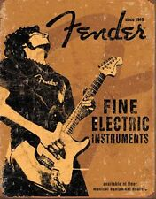 Fender Rock On Guitar Weathered Vintage Retro Tin Metal Sign Poster Wall Decor