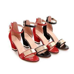 Womens Pumps Block Heel Buckle Strap Open Toe Work Shoes Roman Sandals Plus Size
