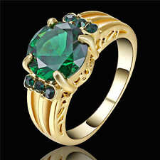 Green Emerald CZ Engagement Ring 18K Yellow Gold Filled Wedding Band Size8 Free
