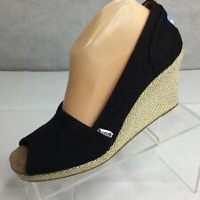 TOMS Sienna Espadrilles Wedge Sz 9.5 Sandals Open Toe Slip On Rope Peep Toe