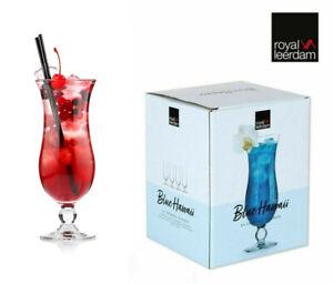 4x Set BLUE HAWAII Hurricane Pina Colada Cocktail Glass Large 440ml