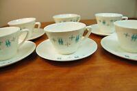 Mid Century Tea Cups & Saucers Salem China Sabin Blue Moderne Atomic Snowflake