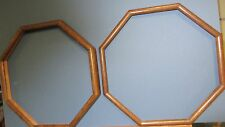 """Two 14"""" Walnut Stained Solid Oak Octagon Hanging Frames"""