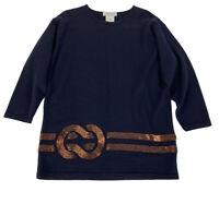 Jaeger Beaded Sweater Women's Size Medium Navy Blue Wool Vintage