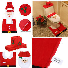 Happy Santa Toilet Seat Cover Rug Bathroom Set Decoration Christmas Snowman