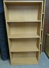 More details for bookcase, book shelf, shelving unit, pale wood laminate, 4 fixed shelves, 80cmw