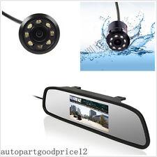 Car Rear View Mirror Display Monitor + IR Night Vision Reverse Backup HD Camera