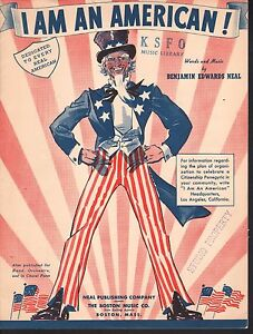 I Am An American 1938 Sheet Music