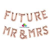 16 Inch Rose Gold 'FUTURE MR & MRS' Foil Balloon Banner, Hen Party, Bachelorette