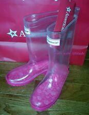 NEW American Girl WellieWishers Peek A Boo Wellies size 12/13 Clear Rain boots