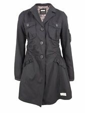 Odd Molly 559 vintage grey cotton trench coat with leather elbow patches size 2