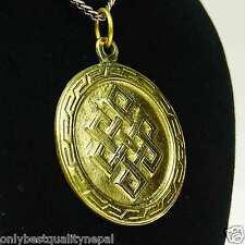 Medallion Buddha Anhänger goldener Talisman aus Messing Glücksbringer a88