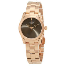 Tissot T-Wave Anthracite Dial Ladies Rose Gold Tone Watch T1122103306100