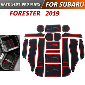Gate slot pad For Subaru Forester 2019 Accessories Anti-Slip Mat Coasters (Red)