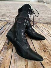 Vintage Gamba London Victorian Era Ankle Boots Black Satin Lace Up Steam Punk