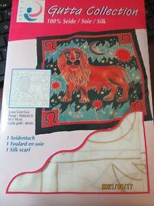 NEW Artys Gutta Collection 1 Silk Scarf Silk Painting NOS Lion