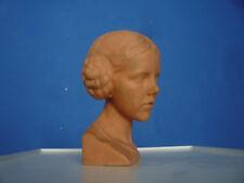 Seltene Ton Büste von Bildhauer Fritz Wolber Signiert TOP ZUSTAND