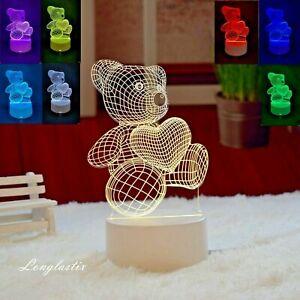 Teddy Bear 3D Lamp LED Night light Acrylic Touch Xmas birthday Gift 7 Color toy