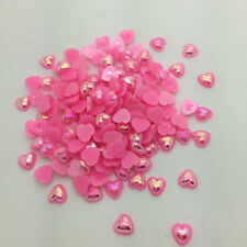 New 100pcs 8mm Heart-Shaped Pearl Bead Flat Back Scrapbook For Craft Pink