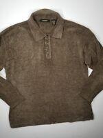 Bachrach  Polo Sweater Sz L Long Sleeve Mens Brown
