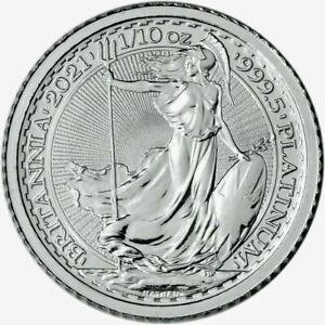 2021 Great Britain PLATINUM Britannia £10 - 1/10 oz .9995 BU