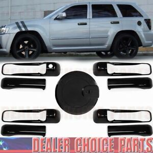 For 2005 06 07 08 09 2010 Jeep Grand Cherokee GLOSS BLACK Door Handle COVERS+Gas