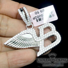 New White Gold Finish On Silver A+++ Cz's Flying B-Wing Bentley Charm Pendant
