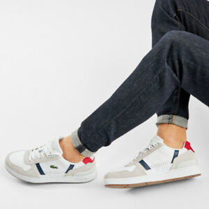 Lacoste T-Clip Full Grain Leather white   Mens Trainers RRP:£85.00