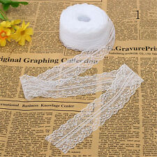 10M/Roll Black/White Beautiful Handicraft Embroidered Net Lace Trim Ribbon Deco#
