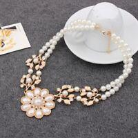 Fashion Charm Women Jewelry Pendant Pearl Choker Chunky Statement Bib Necklace