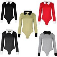 New Ladies Long Sleeve Peter Pan Collar Leotard Bodycon Top