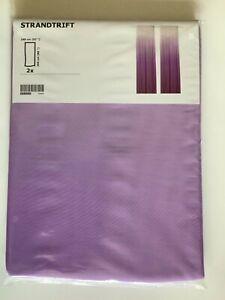 "IKEA STRANDTRIFT Curtains, 1 pair (2 panels), lilac, white 57x98 "" - New"
