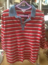 WOMEN'S SIZE XL MACKAYS PARA POLO TOP RED STRIPED/DENIM👚  -BNWT