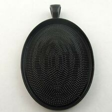 07998 Black Tone Alloy Oval Cameo Setting Pendant Charm Inner:40*30 mm 6pcs
