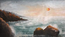 ANTIQUE RUSSIAN LARGE OIL PAINTING SEASCAPE SIGNED