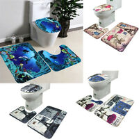 3PCS Non-Slip Bathroom Pedestal Rug+Lid Toilet Cover+Absorbent Bath Mat Set UK