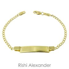 10k Gold Curb Link Children ID Bracelet Personolized Name Engraved