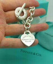 "Return to Tiffany & Co. Heart Tag Toggle Silver 7.75"" Bracelet, UK Hallmarked!"
