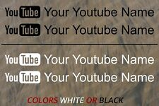 "2 x Your YouTube Name - Vinyl Decal Sticker High Quality 9"" wide"