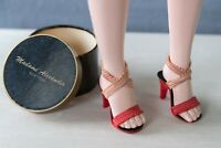 """1950s Vintage Red Sandals fit 20"""" Madame Alexander Cissy Doll with Hat Box"""