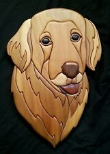 "Hand crafted exotic Intarsia wood art plaque ""Golden Retriever"" by Mike Phillips"
