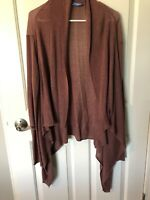 Simply Vera Wang Sweater Size Large brown open cardigan