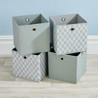 Folding 2 Grey 2 Patterned Square Storage Utility Box Fabric Cube 4pc Basket Set