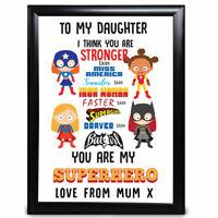 Personalised Daughter Gifts Superhero Keepsake Birthday Christmas Gift for her