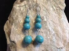 Blue Howlite 12, 10, 8 & 6mm rounds AGW 20Cts silver plated hook earrings