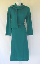 VINTAGE 1980s 90s HENRY LEE TEAL DRESS SIZE 8 POLYESTER BELT SCARF