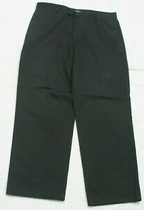 """Dockers Black Solid Dress Pants 36"""" X 30"""" Cotton Man's Men's Flat Front P186"""