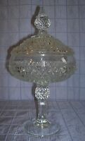 VINTAGE INDIANA GLASS CANDY COMPOTE COVERED PEDESTAL BOWL DIAMOND PATTERN (B12)